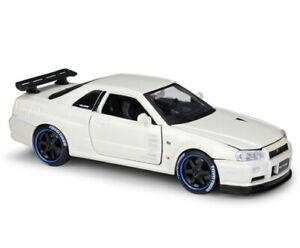 Maisto 1:24 Nissan Skyline GT-R R34 Diecast Model Car New White