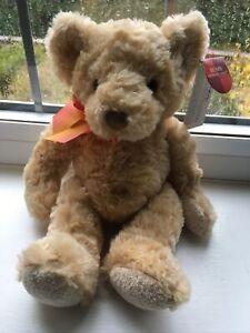 """New Russ Small Edward Teddy Bear Soft Plush Toy 6"""" Sitting 10"""" Long"""
