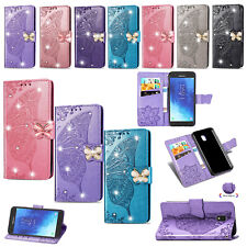 For LG Stylo 5 4 K40 Butterfly Bling Cards Slots Flip Leather Wallet Case Cover