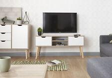 Designer TV Stand 2 Drawer Television Cabinet Oak Veneer Cabinet Solid Wood Legs