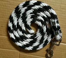 Horse Nylon Lead Rope 70 inches with steel  Swivel Snap -black/white CANDY CANE