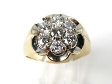 Vintage 14k Yellow Gold Kentucky Cluster Natural .75ctw Diamond Mens Ring 5.2g