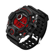 Fashion Men LED Digital Date Alarm Waterproof Military Sport Rubber Quartz Watch