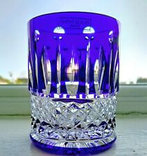 Saint Louis Tommy Blue Overlay Whiskey Tumbler Glass 7.3 cm / 3 inches high