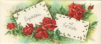 VINTAGE RED GARDEN ROSES BUDS FLOWERS BEST WISH PRINT 1 CHRISTMAS TOY SHOP CARD