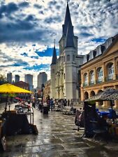 Large Cathedral New Orleans Stormy Photo Art Wall Decor Family Room Den, Kitchen