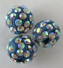 3PCS Blue Iridescent Polymer Clay Crystal Shamballa Beads Diy Beads Zardenia