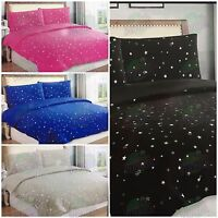STAR STARRY DESIGN PRINT DUVET QUILT COVER & PILLOWCASES BED LINEN BEDDING SET