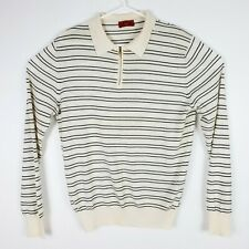 ISAIA Cashmere Pullover Sweater Mens Large Blue Ivory Collared Polo Long Sleeve