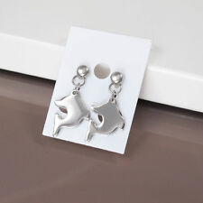 Silver Chrome Stainless Steel Dangle Dolphin Womens Surfer Stud Earrings NEW