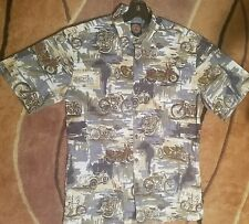 Vintage Harley Davidson History Button Shirt  Small SOFT Hawaiian Made USA