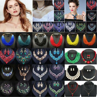 Fashion Boho Crystal Pendant Choker Chain Statement Necklace Earrings Jewelry