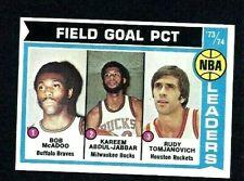 NM 1974 Topps Basketball #146 Field Goal Percentage Leaders w/Jabbar.