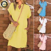 Summer Women Boho Cotton Linen Casual Loose Short Sleeve Baggy V-Neck Mini Dress