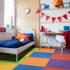 FlooringInc Rainbow Play Interlocking Foam Floor Puzzle Mat | 24 SQFT | 6 Pack