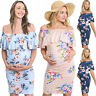 Maternity Pregnant Womens Summer Floral Off Shoulder Ruffle Bodycon Dress Casual