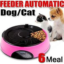 Automatic Pet Feeder Dog Cat AUTO Food Bowl 6 Meal Dispenser LCD Microphone Pink
