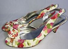 Michaelangelo Happy Ankle Strap Heels Womens Size 8 Floral Fabric Open Toe Shoes