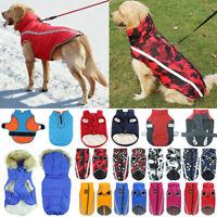 Waterproof Pet Dog Clothes Padded Quilted Fleece Winter Down Coat Vest Jacket