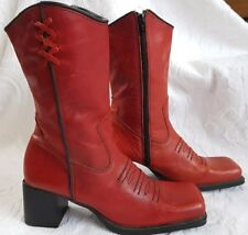 Red Genuine Leather Boots Square Toe Western Style Womens size 9