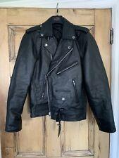 asos Reclaimed Vintage inspired leather biker jacket in black