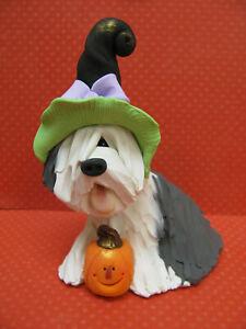 Handsculpted Old English Sheepdog Halloween Witch Dog Figurine