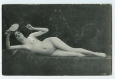 1910s French Risque Nude SHAPELY LOUNGING LADY  photo postcard
