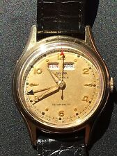 Vintage Enicar Triple Date 17Jewel Swiss Mechanical Yellow Gold Plate Mens Watch