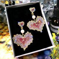 925 Silver Full Crystal Pearl Love Heart Earrings Stud Drop Womens Jewelry Gift