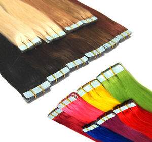 Tape In / On 100% Echthaar Remy Hair Extensions Haarverlängerung 2,5g / Tresse