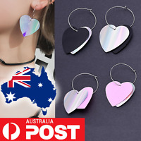 Holographic Heart Rainbow Silver Pink Black Dangle Round Hoop Charm Earrings