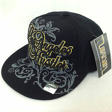 Leader Los Angeles LA Hustler Flat Peak Black Gold Fitted Cap Hat 7 1/8