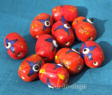 Lot 10 Perles Verre Ø=1,5cm L=1,7 Bijoux Artisanat Inde Rouge
