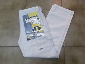 Salopette jeans da uomo donna pantaloni meltin pot bianca lavoro vintage 48 w34