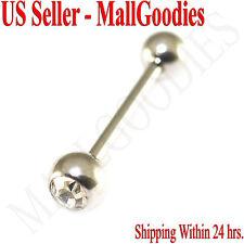 V096 Surgical Steel Gem Jewels Tongue Rings Barbells Metal Bars PICK YOUR COLORS