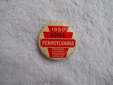 Vintage 1950 PA Pennsylvania Resident Fishing Badge License Pinback Button