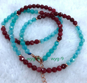 New 4mm Red Garnet & Blue Amazon Round Faceted Gemstone Necklace 18 inches
