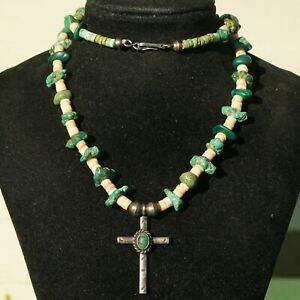Vintage Turquoise Nugget Shell Heishi Cross Pendant Necklace