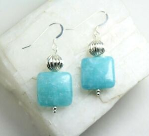 "Quartz Blue 16mm Square Gemstone .925 Sterling Silver Hook Earrings 1 3/4"""