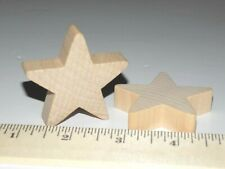 """2 pc New Raw Unfinished Wood Craft 2"""" Large Star Thick Made in USA! LOT OF TWO"""