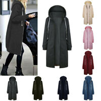 Plus Size Women Winter Jumper Jacket Coat Cardigan Hooded Long Zipper Outerwear