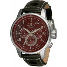Invicta Men's Watch S1 Rally Chronograph Burgundy Dial Leather Strap 30915