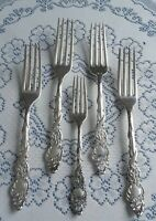5 Antique Rogers Bros 1847 Columbia Silverplate Dinner Forks w/ Serpents