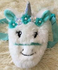 New Llama Unicorn Girl's White Teal Faux Fur Fanny Pack