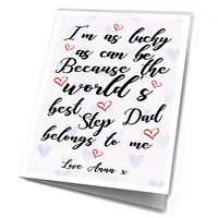 Fathers Day Gift Step Dad Personalised Gifts Card From Lucky Daughter Son Daddy