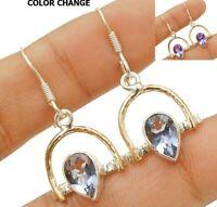 2CT Two Tone- Alexandrite 925 Sterling Silver Earrings Jewelry EZ23-8