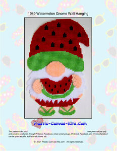 Summertime Watermelon Gnome Wall Hanging- Plastic Canvas Pattern or Kit