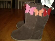 "NWT Little Girls Size 10 Gap Brown Suede Boots with Butterflies 7"" Tall Zippers"