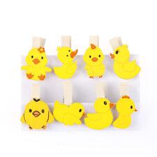 Amarillo pato pollo dibujos animados madera clip foto papel clavijas pinza arte