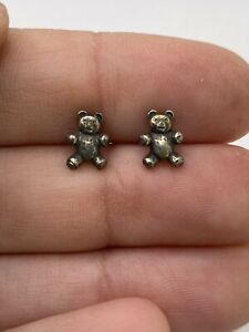 James Avery RETIRED Sterling Silver Teddy Bear Stud Earrings